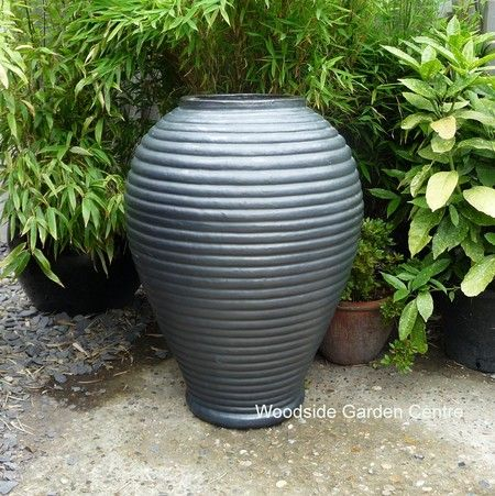 Large Gun Metal Grey Glazed Adobe Jar Water Feature | Woodside Garden  Centre | Pots To