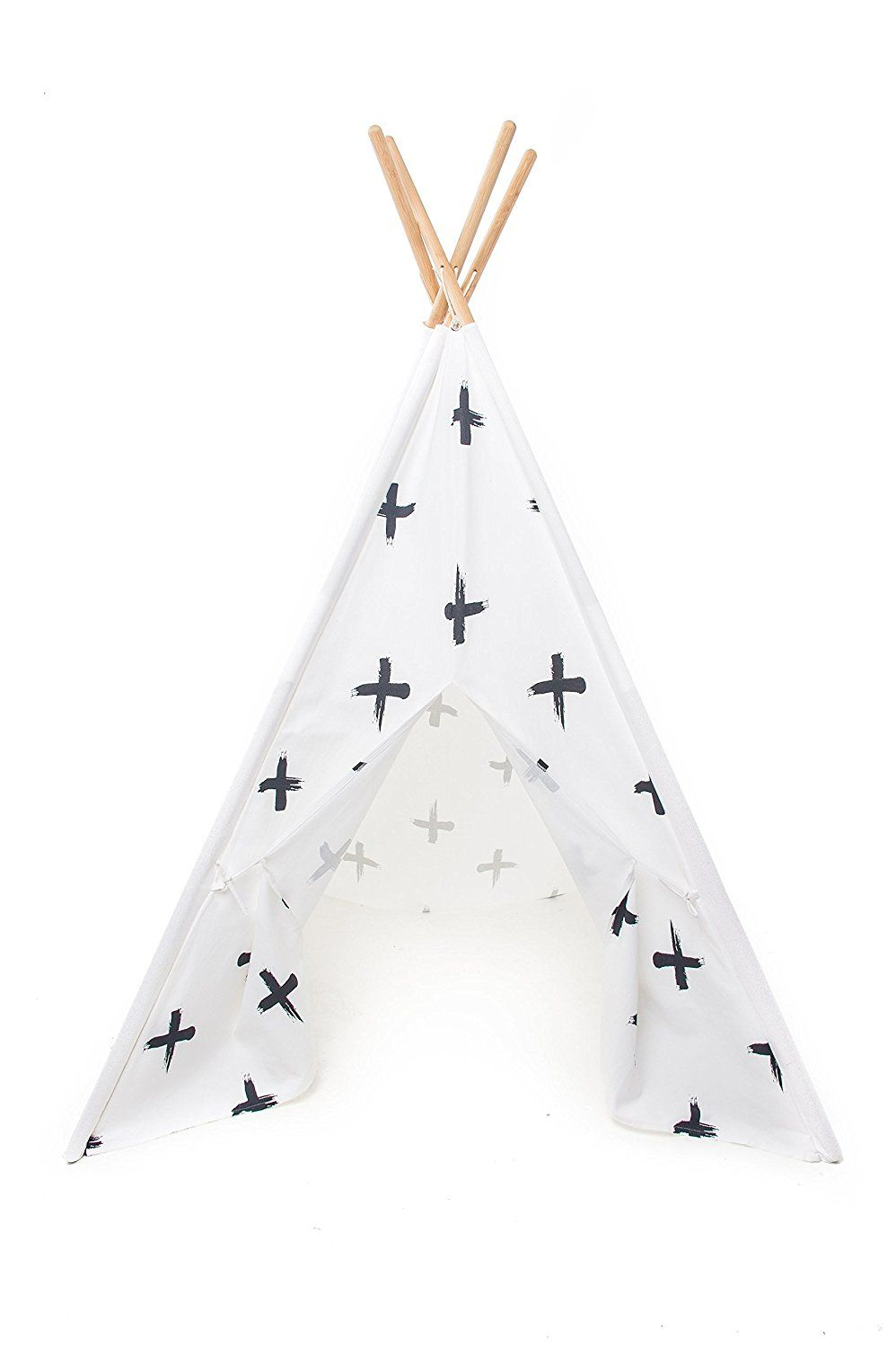 HOURS OF FUN – This play teepee will add fun to any room of the house. Let you kids use their imagination, and play with this teepee in many ways! Your children can sleep, read, and play in this teepee all day! EASY TO ASSEMBLE – Easy assembly is a must with impatient kids. Our teepee assembles in minutes with our step-by-step guide. With 4 easy assembly steps, you will have your children playing in no time!