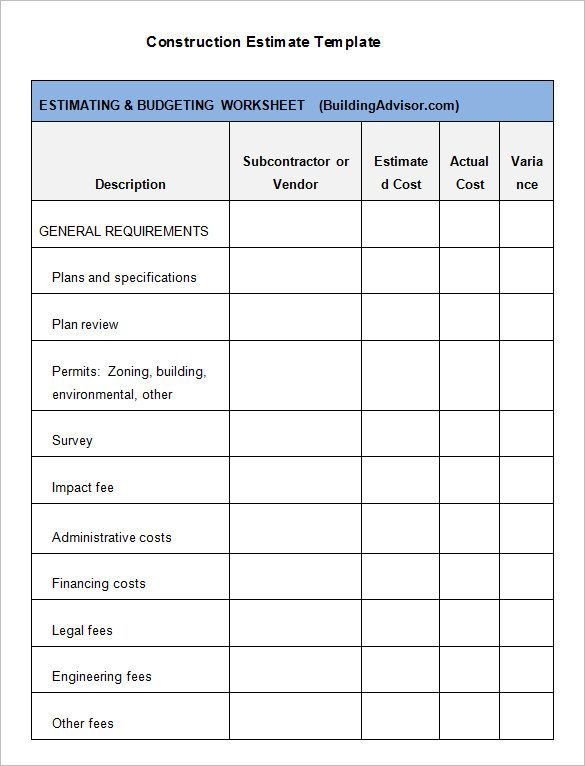 free contractor estimate forms contractor estimate form