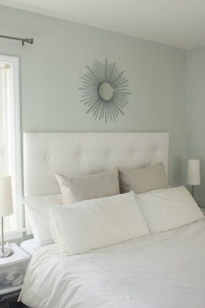 Glidden China Rain A Soft Blue Gray That Looks So Relaxing And Spa Like With The White Bed