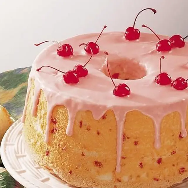 Low-Fat Cherry-Almond Angel Cake With Angel Food Cake Mix