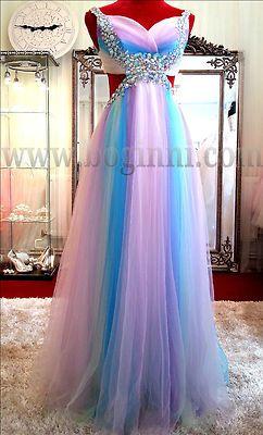 Beautiful baby pink rainbow crystal open back empire wedding prom dress Boginni
