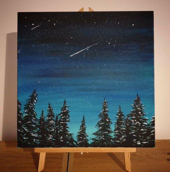 Night Time Starry Sky Forest, Acrylic Painting, Bo