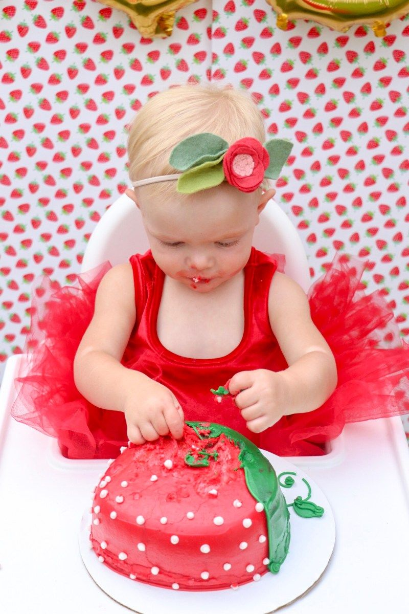 Can Do Custom Themes 1st Birthday Cake Smash High Chair Banner Pink Red Strawberry Picnic Birthday High Chair Fabric Banner