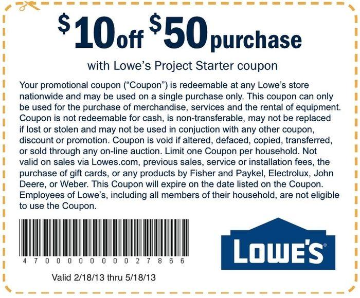 Lowes Printable Coupon: $10 Off Orders $50+ Use Printable Coupon