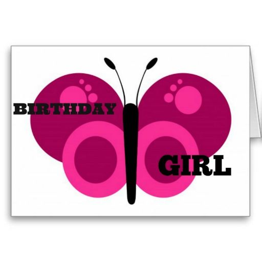 Pink Butterfly Birthday Girl Greeting Card