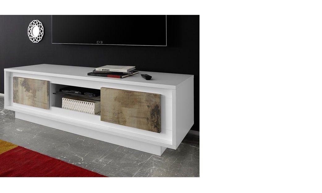 Meuble Tv Blanc Laque Mat Moderne Colorado Meuble Tele Design