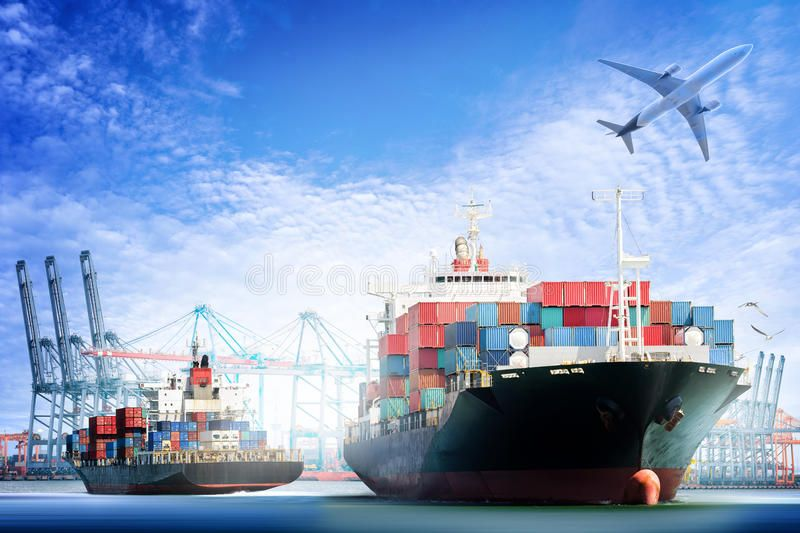 Container Cargo ship and Cargo plane with working crane bridge in shipyard backg