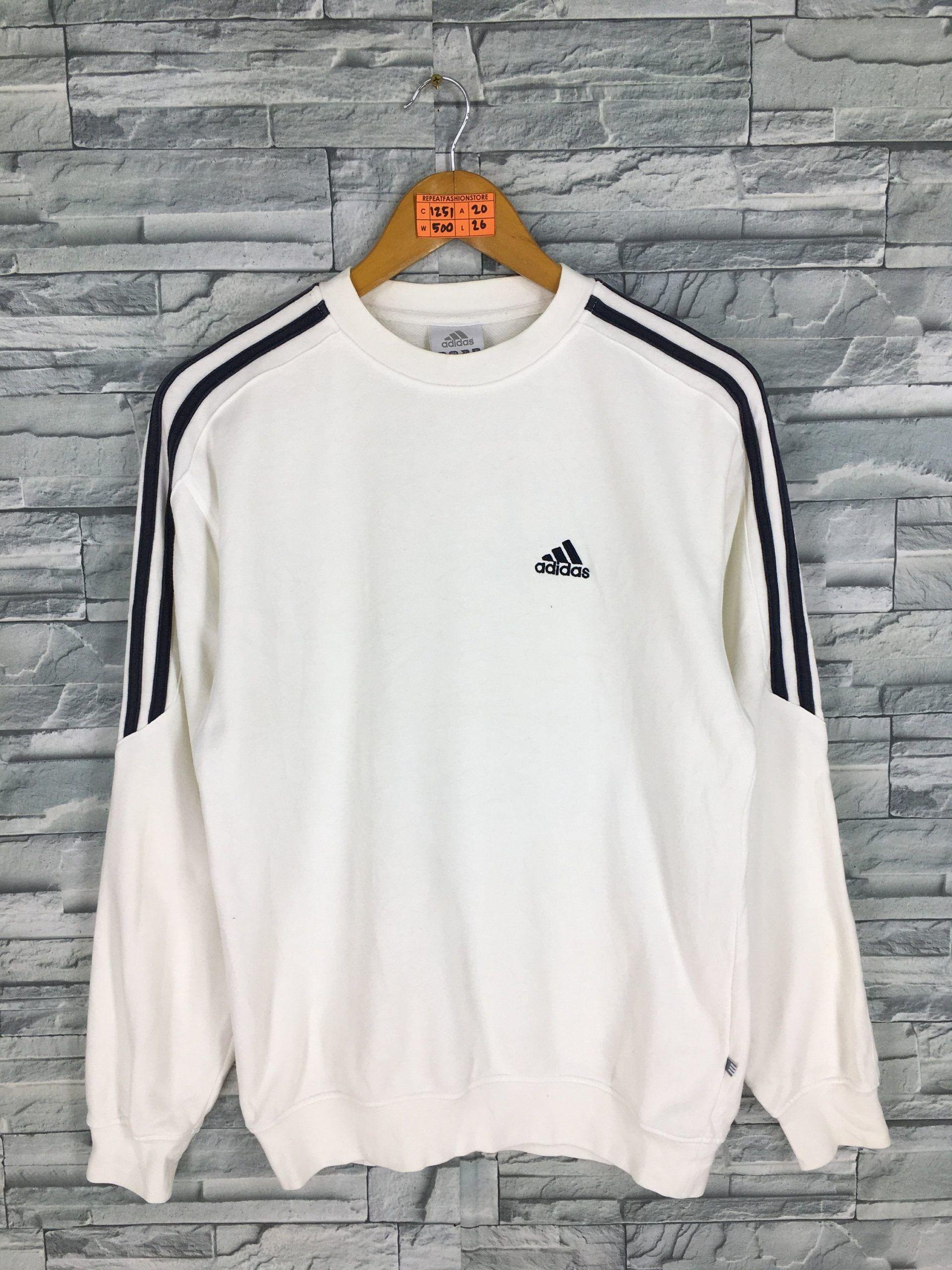 Vintage 90s Adidas Crewneck Sweatshirt Small White Adidas Equipment Three Stripes Sportswear Adidas Sport In 2020 Adidas Sweatshirt Outfits Hype Clothing Nike Casual Outfit