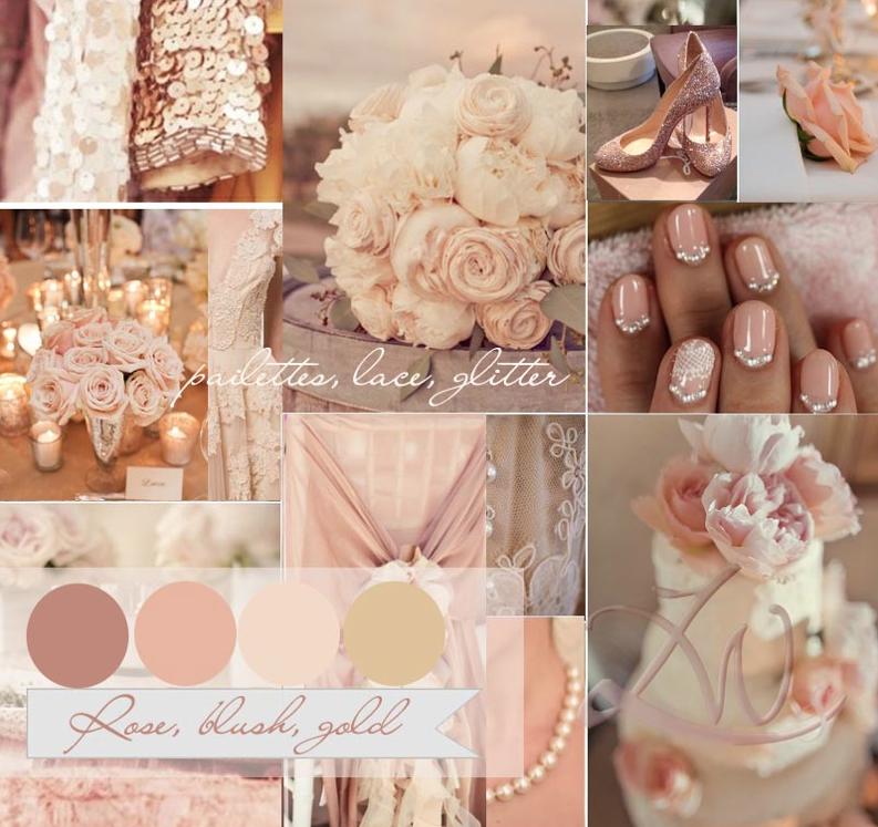 Rose Blush And Gold Wedding Colour Color Palette