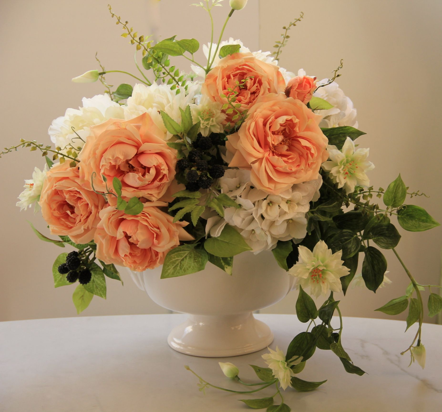 Artificial Silk Floral Arrangement White Hydrangeapeach Color