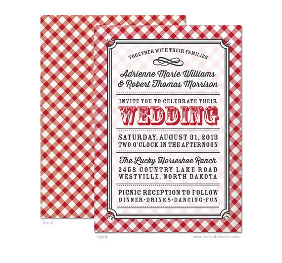 Country Gingham Wedding Invitation DIY By TheSpottedOlive On Etsy 2495