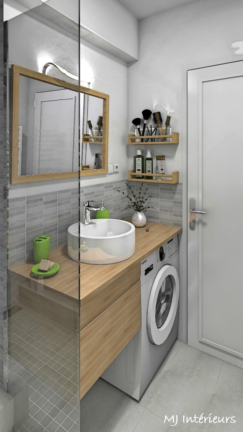 Un lave-linge faible profondeur a trouvé sa place sous le plan de toilette salle de bain moderne par mj intérieurs moderne | homify #salledebain