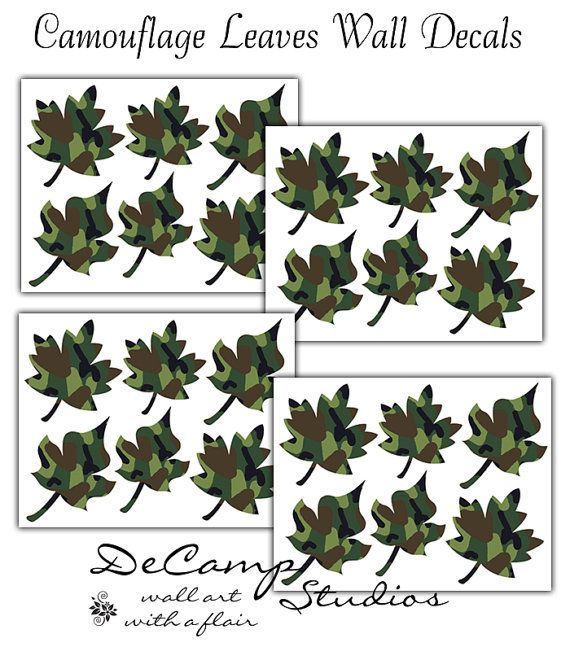 Green Camo Leaves Wall Decals for boys hunting or army room decor and baby green camouflage  sc 1 st  Pinterest & Green Camo Leaves Wall Decals for boys hunting or army room decor ...