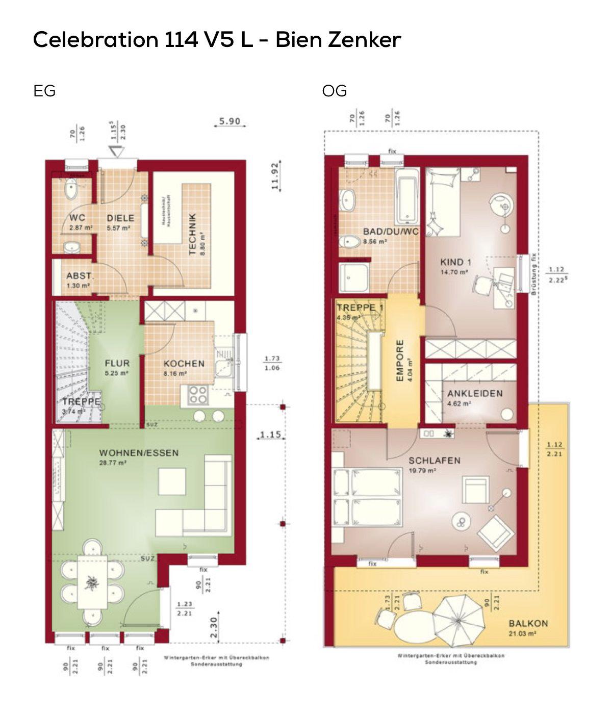 Grundriss Doppelhaus Schmal Mit Pultdach Architektur Loggia 3 Zimmer 113 Qm Wfl Erdgeschoss Modern Kuche Offen Als Wohnkuche Obe Floor Plans Haus House