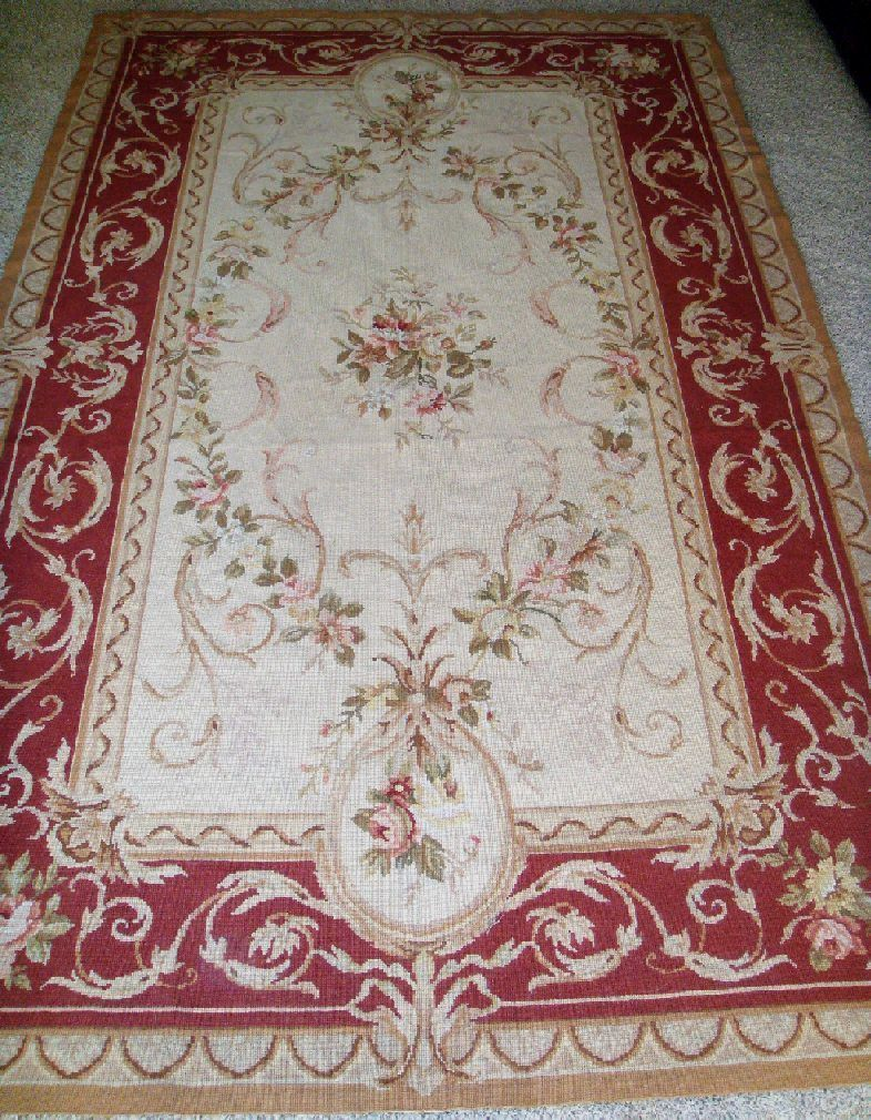 French Aubusson Needlepoint Rug With Pink Roses