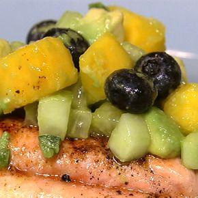 For a light & satisfying meal, serve  up Daphne's Chili Salmon with Mango Cucumber Salsa.