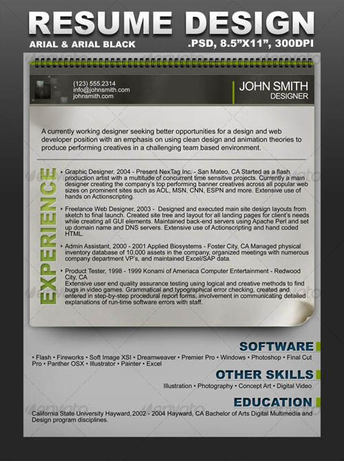 Awesome Resume Cv Templates  Mow Design  Graphic Design Blog