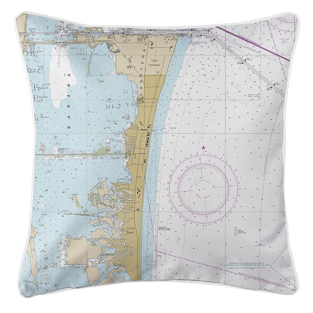 Fl Cocoa Beach Fl Nautical Chart Pillow Nautical Chart Island