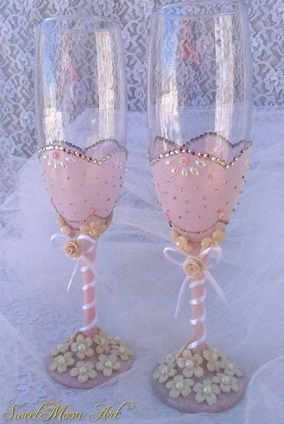 Blue champagne flute gold glasses wedding glasses for Copas de champagne