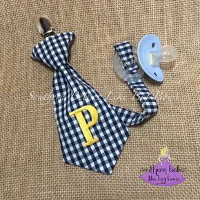 Baby boy gift gingham plaid check necktie pacifier clip with baby boy gift gingham plaid check necktie pacifier clip with monogram baby boy gift ideas new baby boy gift baby shower gift negle Gallery