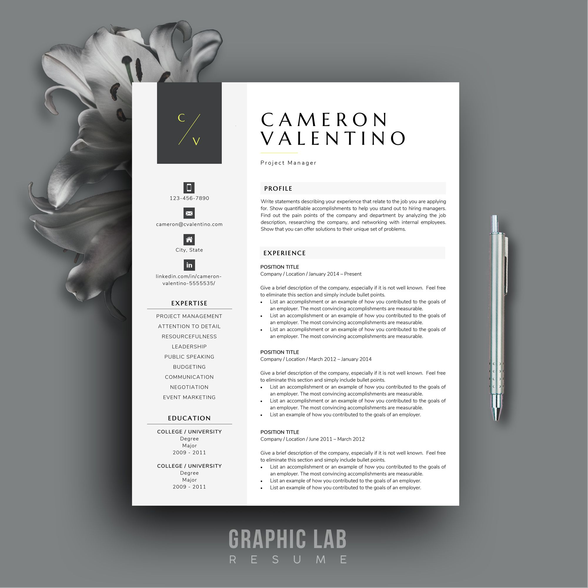 References Sheet Template Fascinating Modern Resume Template  Cv Design  Resume Template Word  Modern .