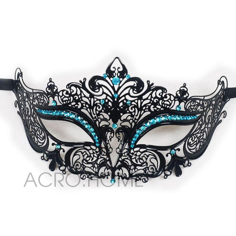 Prom//Ball//Wedding. Venetian White Metal Mask Filigree Masquerade Diamante Ball
