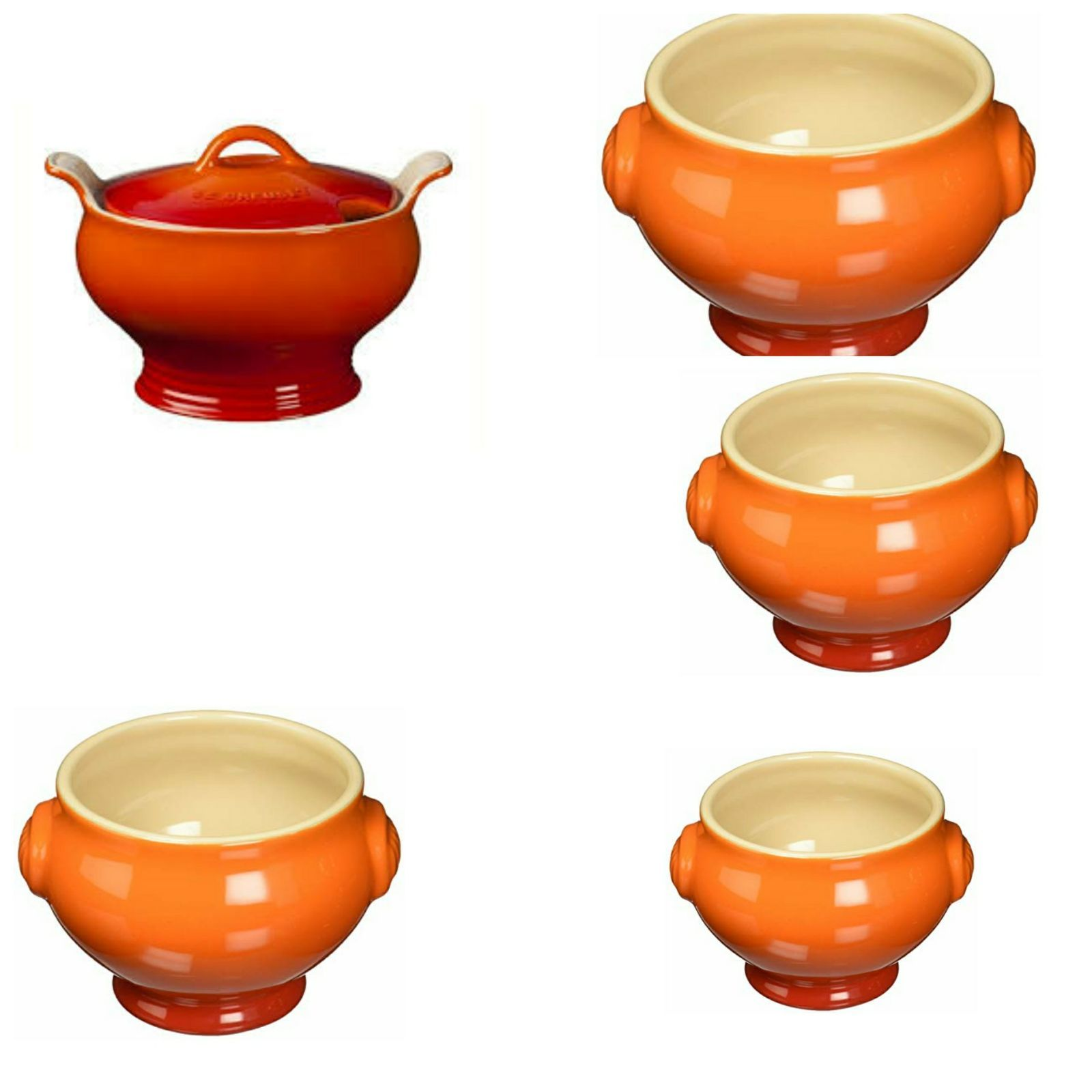 LE CREUSET HERITAGE TUREEN 6PC SET. COLOR FLAME ORAGE