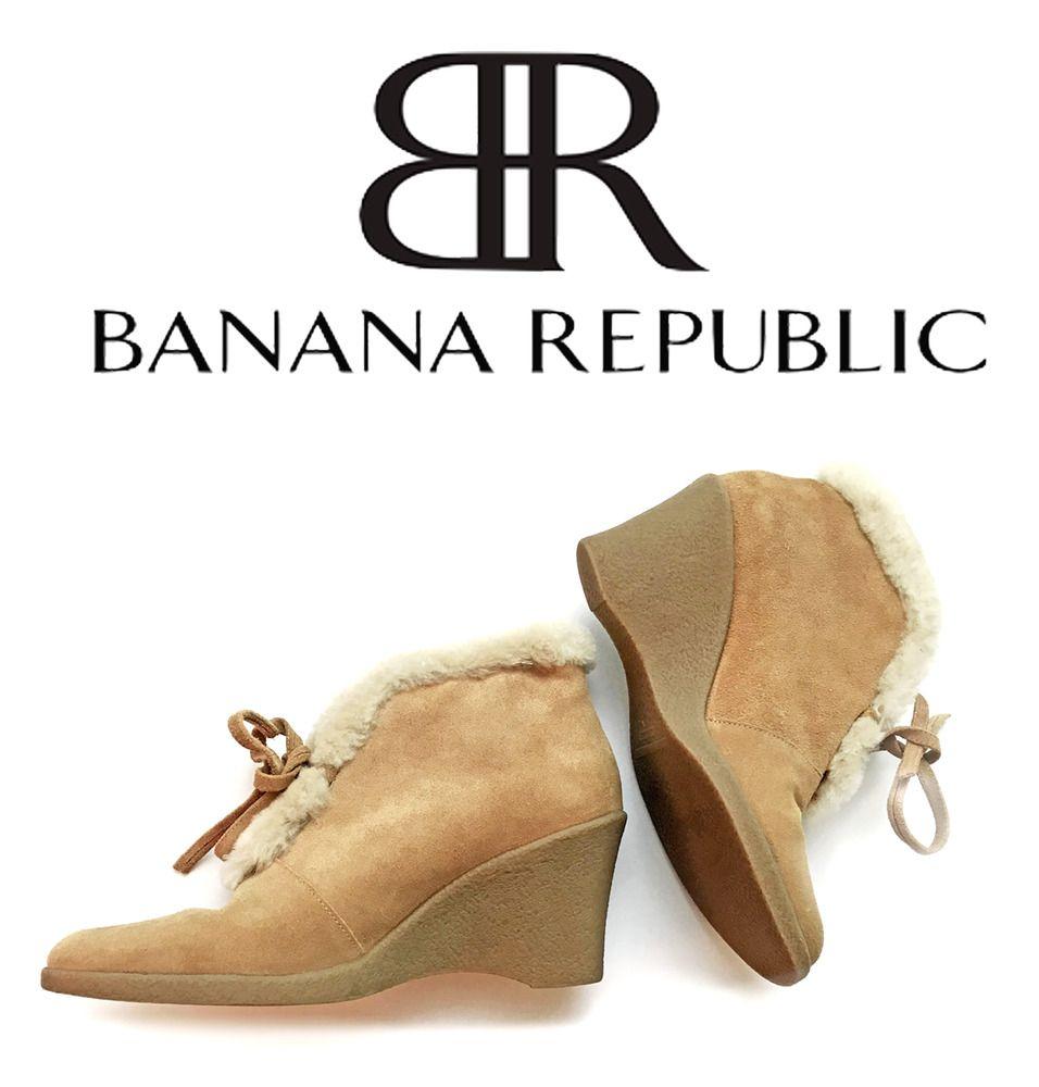 caddefb251 Banana Republic Sherpa Trim Tan Suede Ankle Wedge Boots Bootie Size 7.5 # BananaRepublic #Booties #CasualOutdoorWork