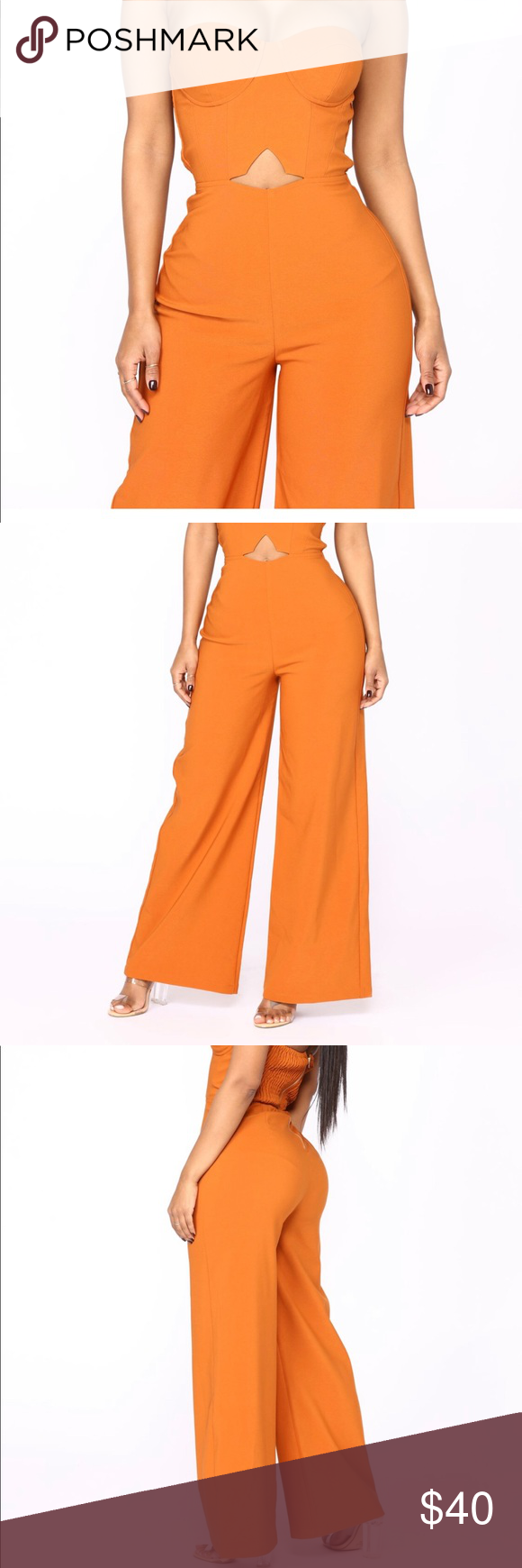 b1036af34f9a Calm and Collected Strapless Jumpsuit Available In Rust Strapless Jumpsuit  Padded Back Zipper Smocked Back Self