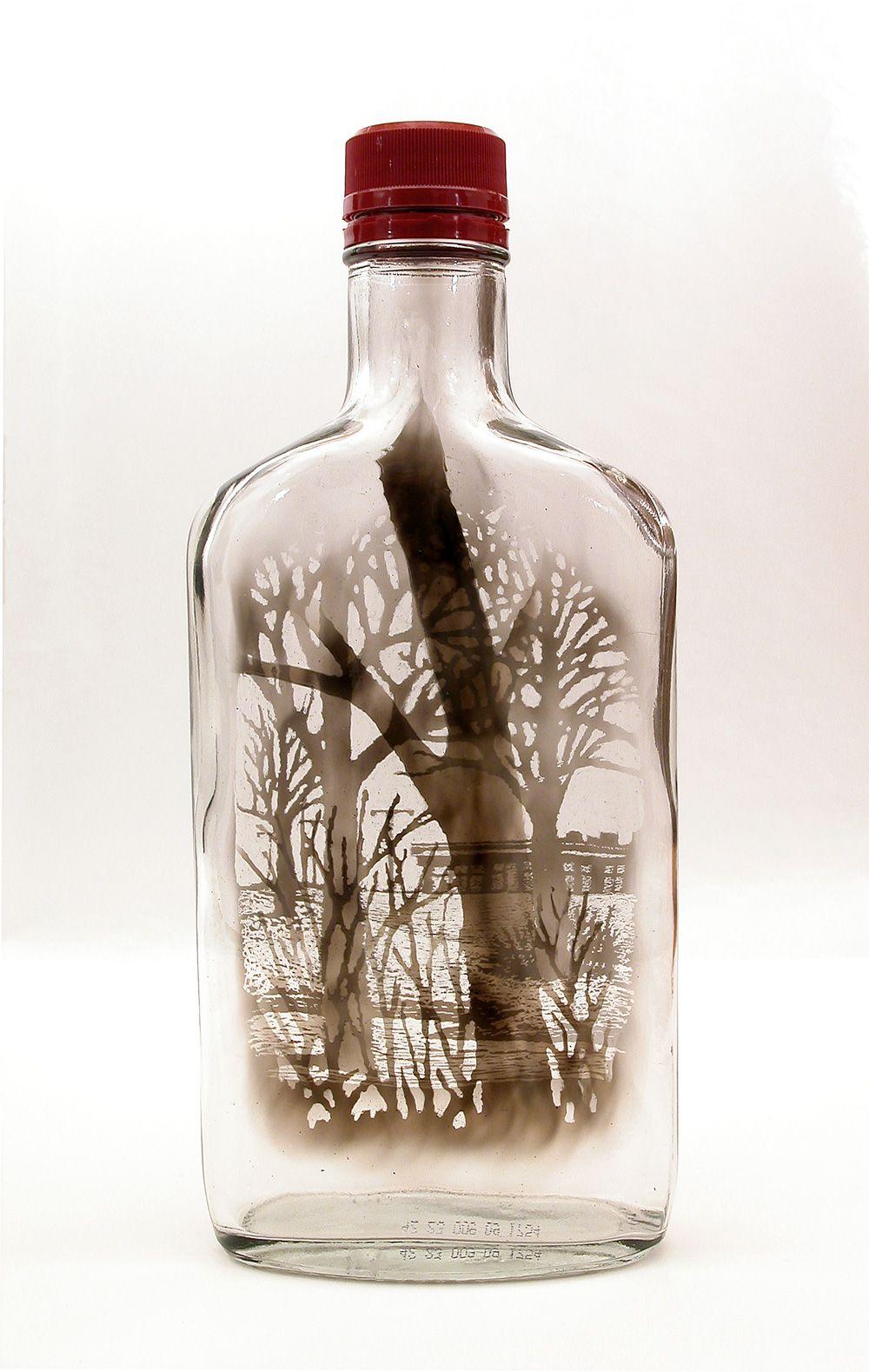 One of Jim Dingilian's bottled smoke landscapes. | Art design, Bottle art,  Bottle