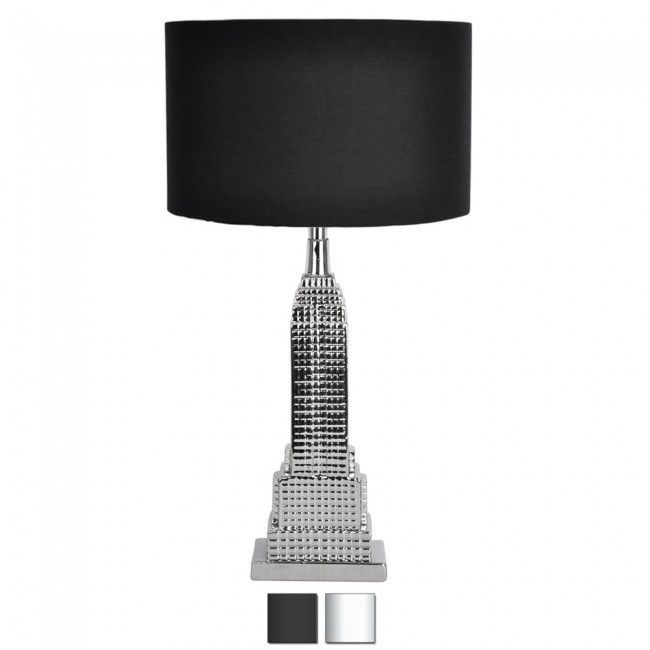 MODERN CHROME NEW YORK EMPIRE STATE BUILDING TABLE LAMP