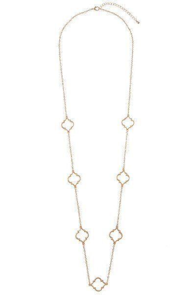 Quatrefoil Long Strand Necklace - Rhodium or Dark Gold #sweetpandfi #necklace #accessories
