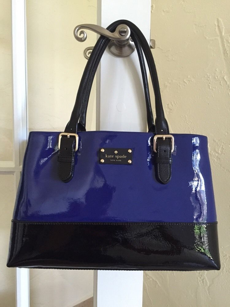 Kate Spade Carlisle Street Elena Satchel Royal Cobalt Blue Black WKRU2120 #katespade #Satchel