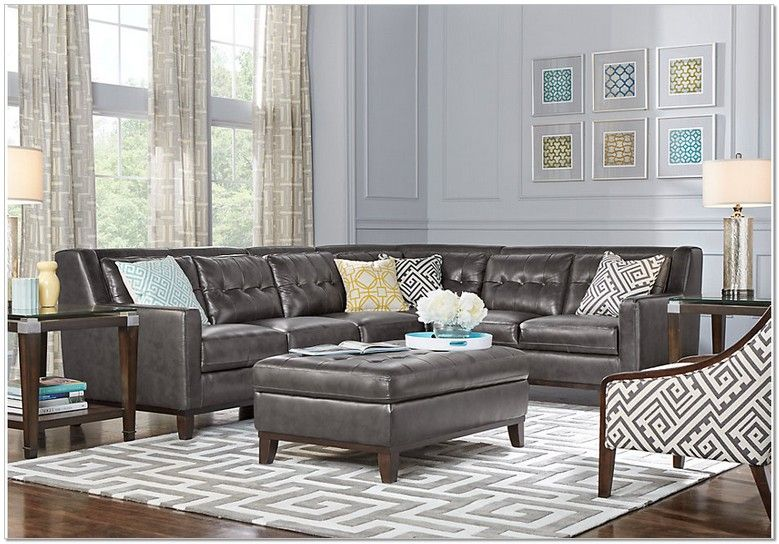 Amazing Rooms To Go Grey Leather Sectional Leather Sectional