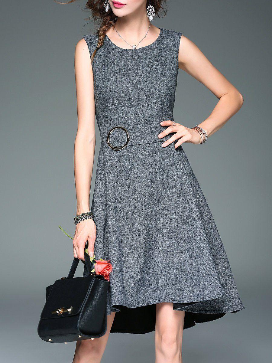Aline casual plain sleeveless crew neck midi dress midi dresses