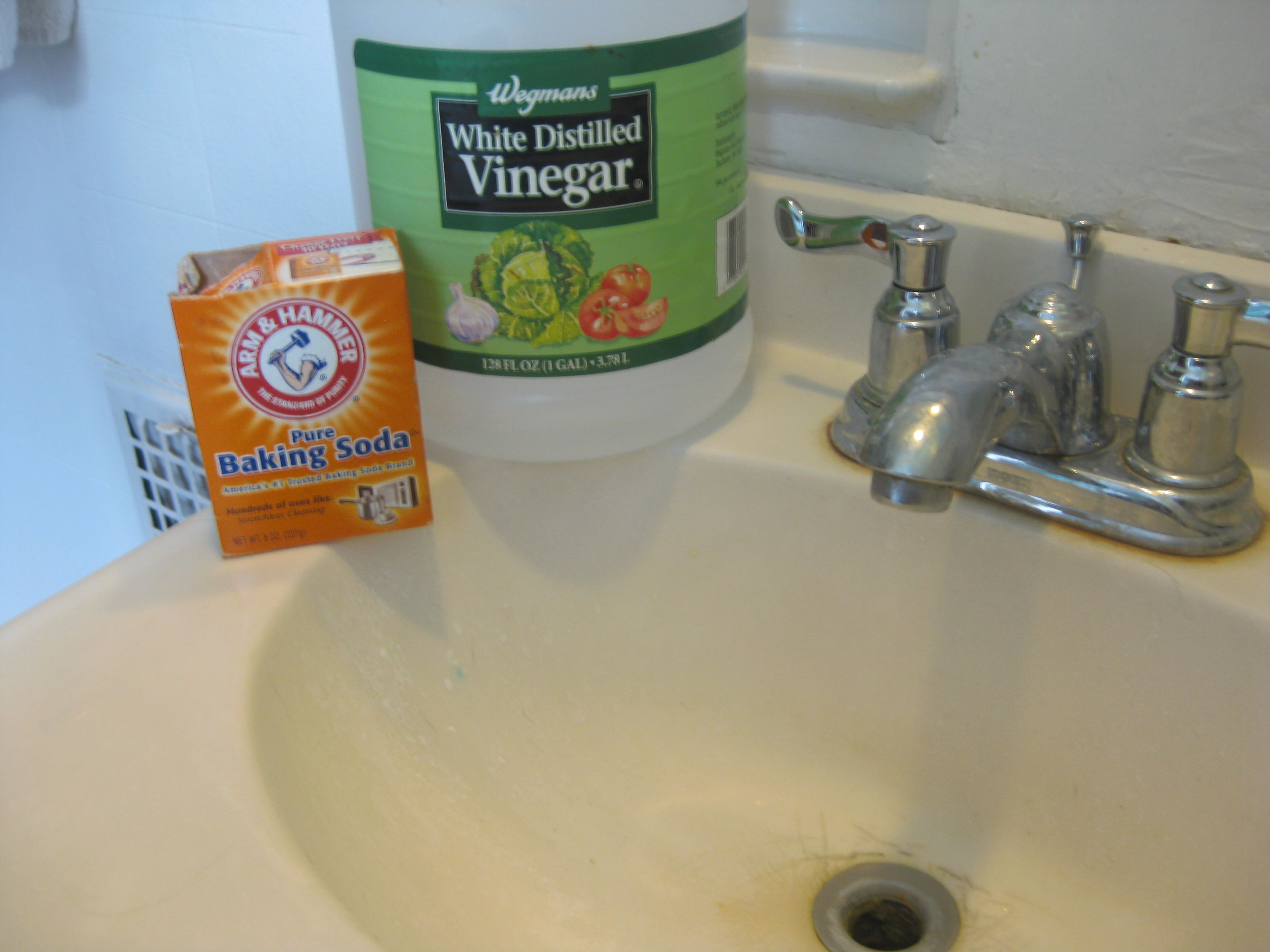 For A Clogged Sink 1 4cup Baking Soda First 1cup Of Vinegar Second