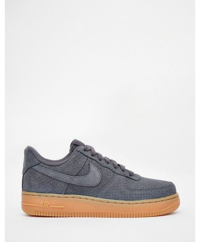 Nike Air Force 1 07 Suede Grey Shoes UK Sale