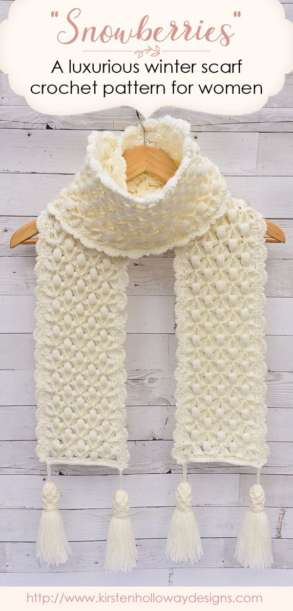 Snowberries A Luxurious Winter Scarf Crochet Pattern Holiday