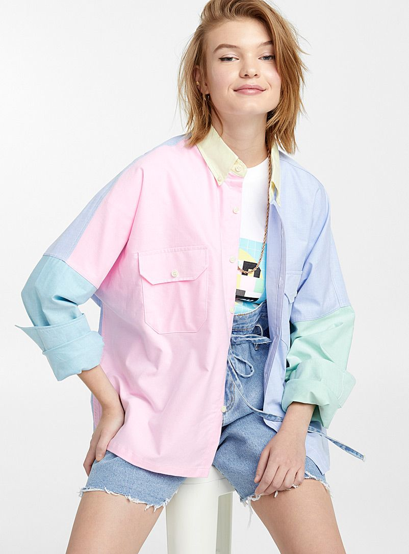 Colour Block Pastel Shirt Paragraph Shirts Simons Pastel Fashion Colourful Outfits Colorful Fashion