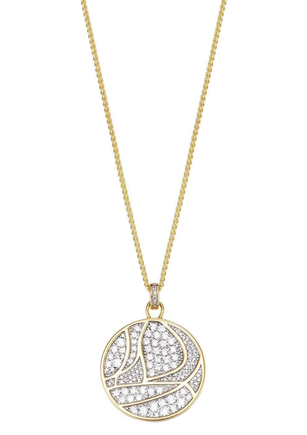 """Esprit collection, Kette, """"EL-adelphia gold, ELNL93162A420"""".  Glamouröses und Elegantes Schmuckstück auf hohem Niveau - Dieser sinnliche Halsschmuck ist aus goldfarben vergoldetem, teilweise rhodiniertem Silber 925 gefertigt. Funkelnde Zirkonia (synth.) zieren den ca. 36/27 mm großen Anhänger. Die ca. 42 cm lange Zopfkette ist mit dem ca. 3 cm langen Verlängerungskettchen entsprechend in der Lä..."""