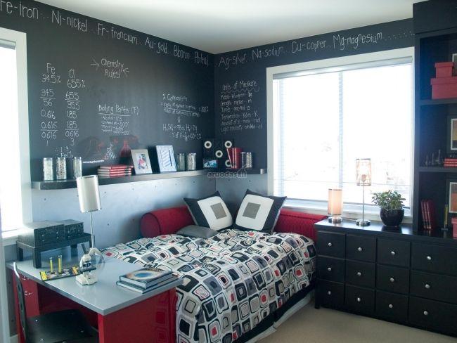 Einrichtungsideen Jugendzimmer Tafelfarbe Wande Schwarz Rot