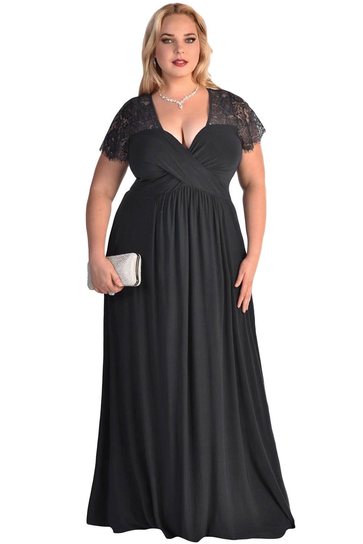 2182b99b9bda Dámské šaty pro plnoštíhlé černé Alice