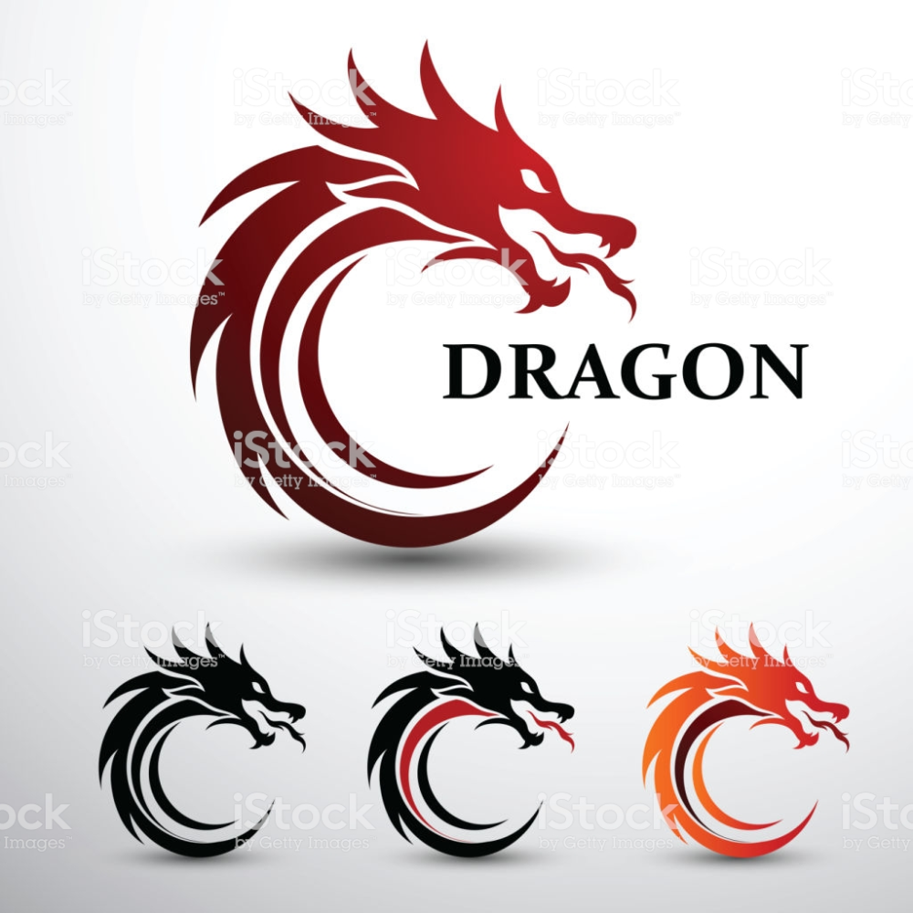 Chinese Dragon Head Silhouette Flat Color Logo Design Vector Logo Dragon Painting Logo Dragon Icon