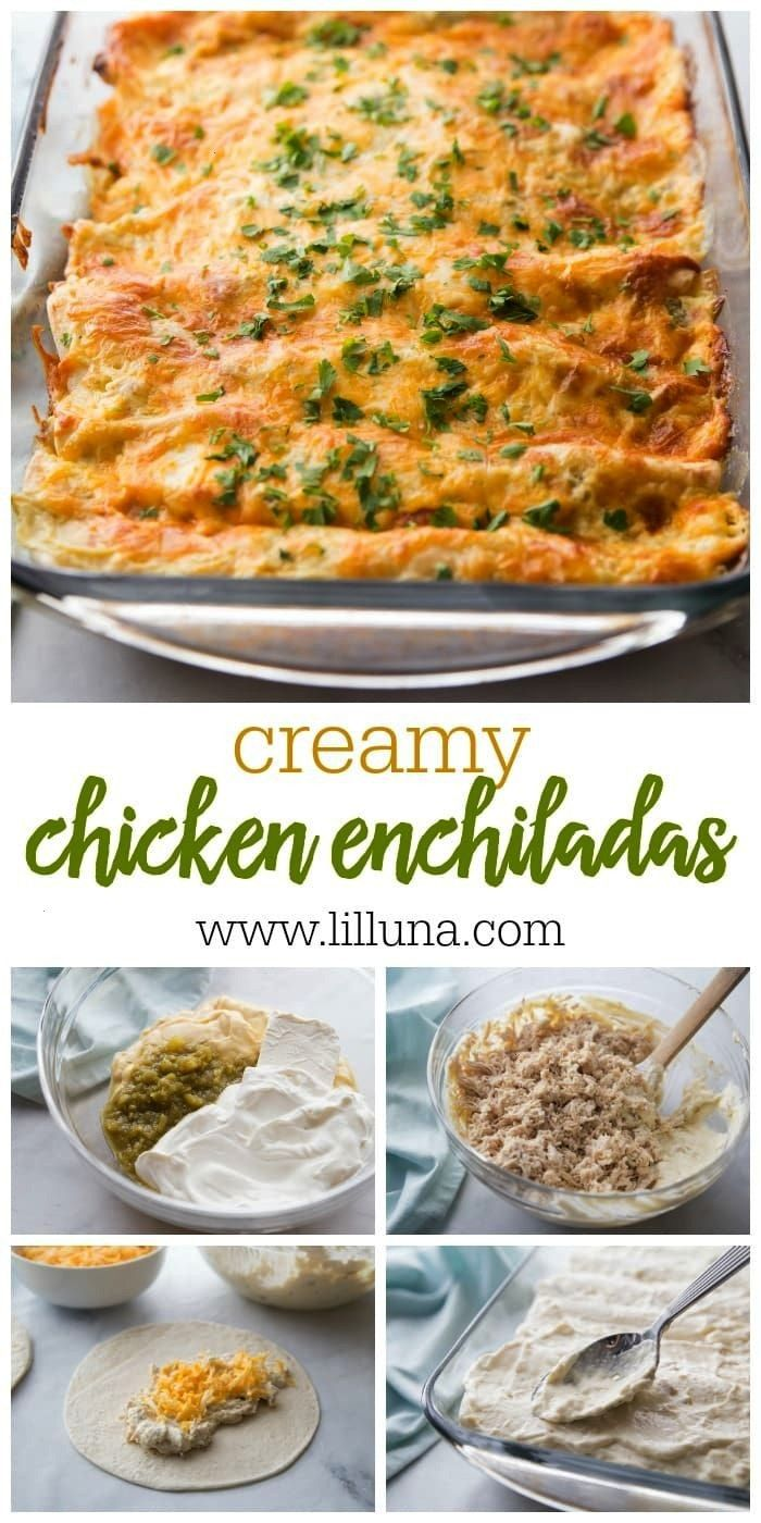 chicken enchiladas made With chicken, sour cream, cream cheese and more stuffed into a soft flour t