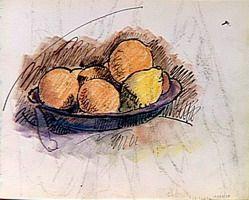 Pablo Picasso estudio de la naturaleza muerta fruta en una taza