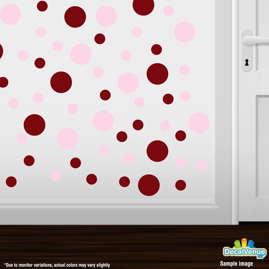 Burgundy / Baby Pink Polka Dot Circles Wall Decals #stickers #decalvenue #decals