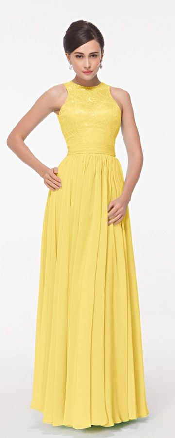 Neck BackAbiball Modest High Dresses Yellow Key Formal Hole MUVSzp