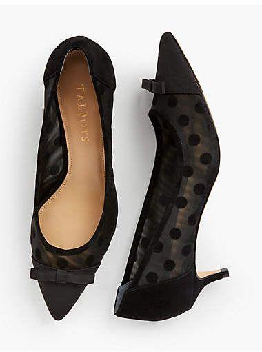 b0cc735b9b0 Talbots Sylvie Kitten Heel Pumps - Mesh Dot  ad  shoes