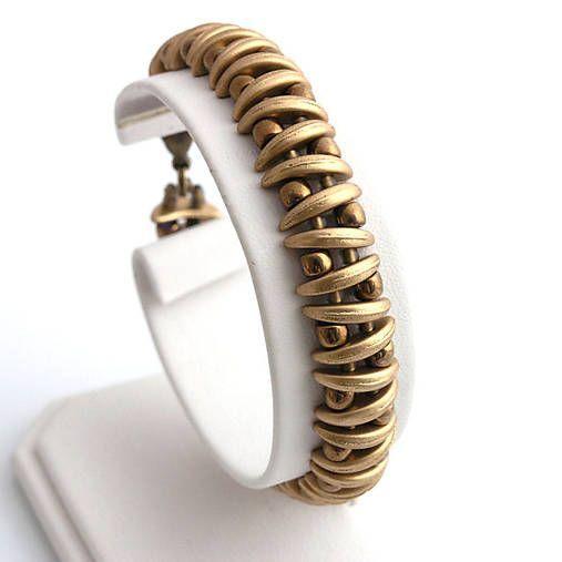 Crescent beads bracelet kacenkag / Zlatý mesačný